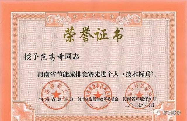 郑锅高级工程师范高峰获评河南省节能减排先进个人
